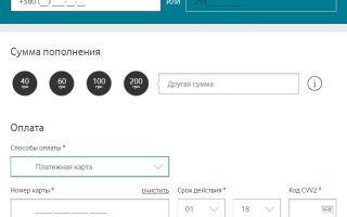 Пополнение счета Водафон Украина банковской картой без комиссии
